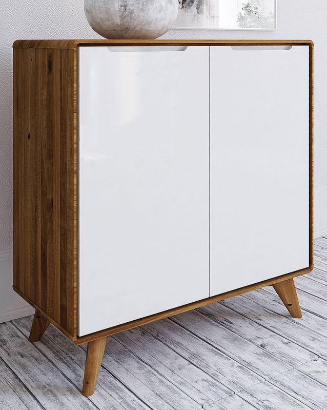 Kommode Timaru 06 Wildeiche geölt / Weiß, teilmassiv - Abmessungen: 92 x 90 x 40 cm (H x B x T)