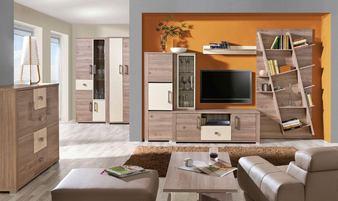 Wohnzimmer Komplett - Set E Cavalla, 9-teilig, Farbe: Eiche / Creme