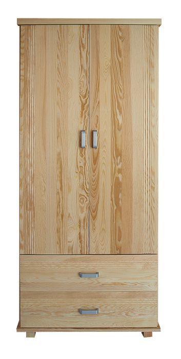 Kleiderschrank mit dekorativen Einfräsungen Kiefer Vollholz massiv natur Columba 01 - Abmessung 195 x 80 x 59 cm