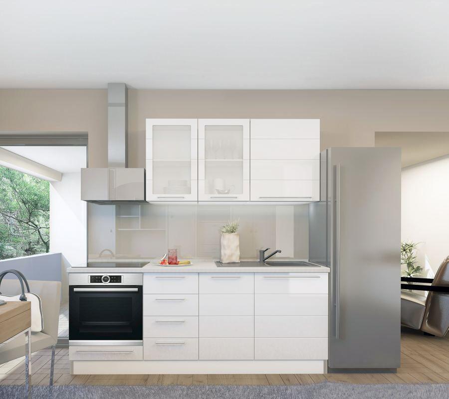 Küchenzeile / Küchenblock Fagali 01, 6-teilig, Farbe: Weiß / Weiß Hochglanz