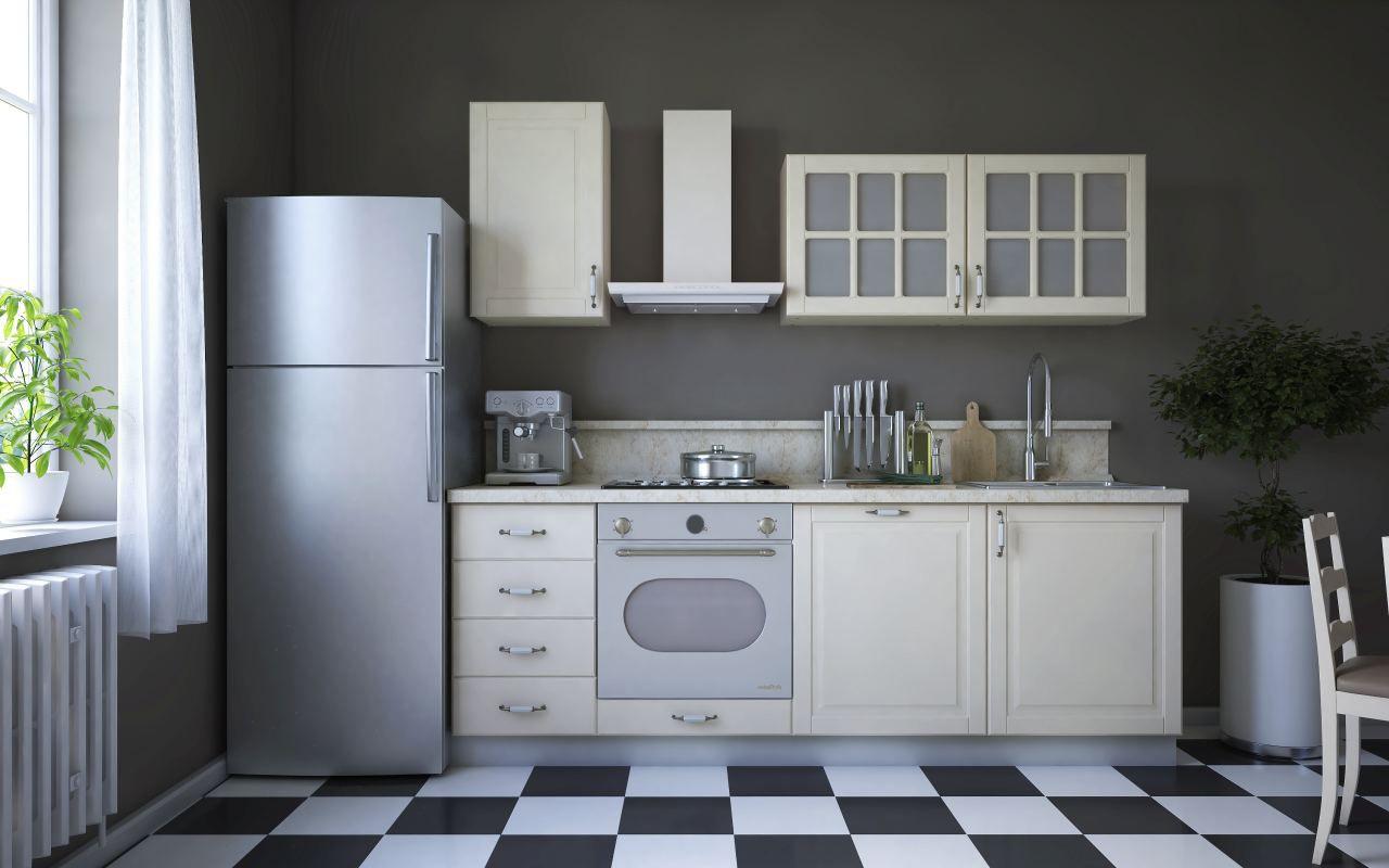 Küchenzeile / Küchenblock Fagali 03, 7-teilig, Farbe: Elfenbein