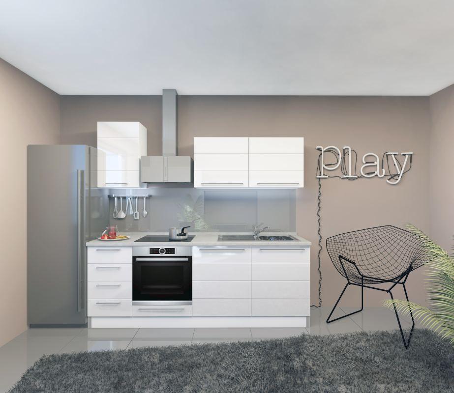 Küchenzeile / Küchenblock Fagali 04, 7-teilig, Farbe: Weiß / Weiß Hochglanz