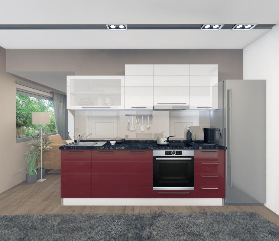Küchenzeile / Küchenblock Fagali 06, 8-teilig, Farbe: Weiß Hochglanz / Bordeaux Hochglanz