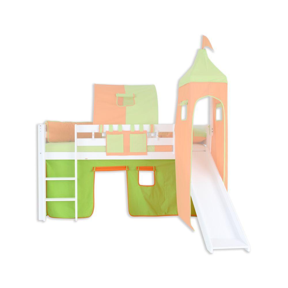 Vorhänge Stoff-Set - Farbe:Grün/Orange