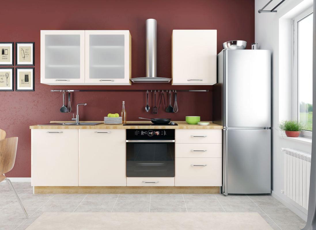 Küchenzeile / Küchenblock Fagali 08, 7-teilig, Farbe: Eiche Braun / Creme