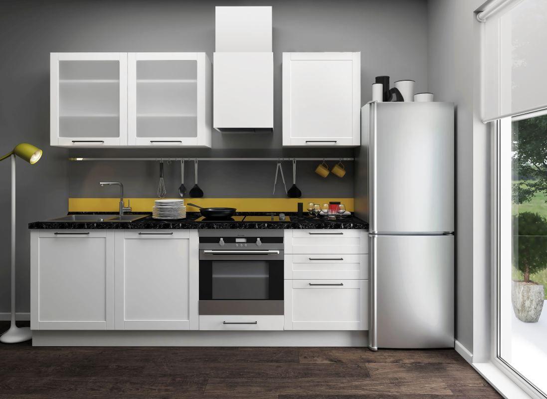 Küchenzeile / Küchenblock Fagali 09, 7-teilig, Farbe: Weiß