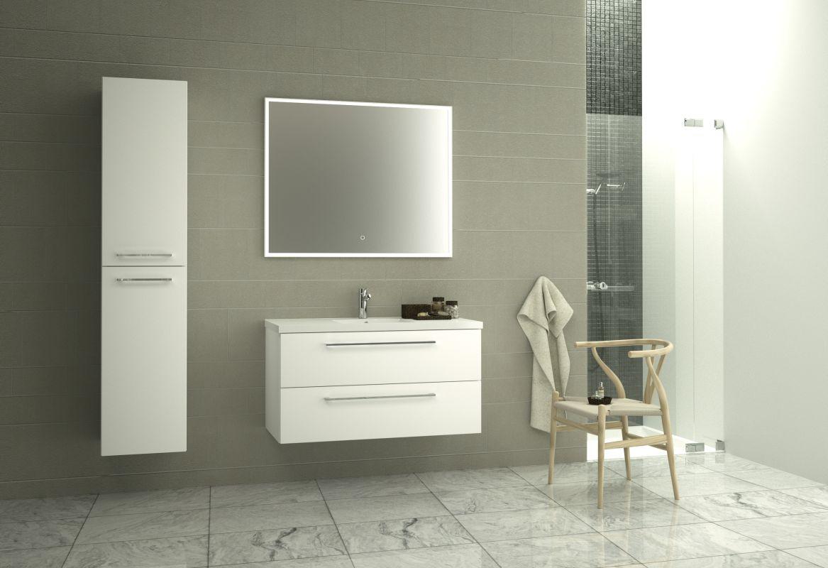 Badezimmermöbel - Set BN Rajkot, 3-teilig inkl. Waschtisch / Waschbecken, Farbe: Weiß glänzend