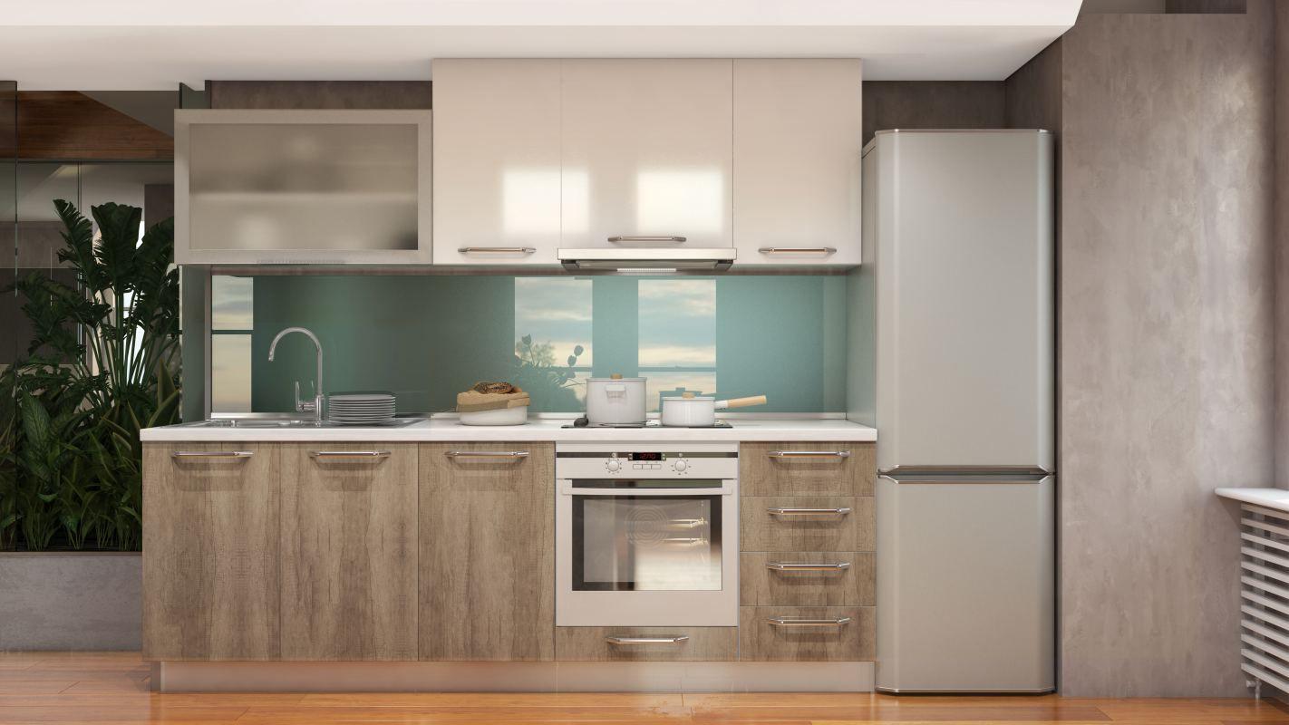 Küchenzeile / Küchenblock Fagali 10, 8-teilig, Farbe: Braun Hochglanz / Creme Hochglanz