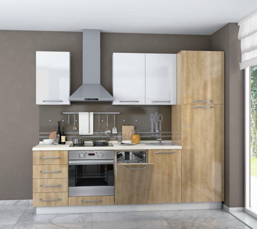 Küchenzeile / Küchenblock Fagali 11, 7-teilig, Farbe: Braun Hochglanz / Weiß Hochglanz