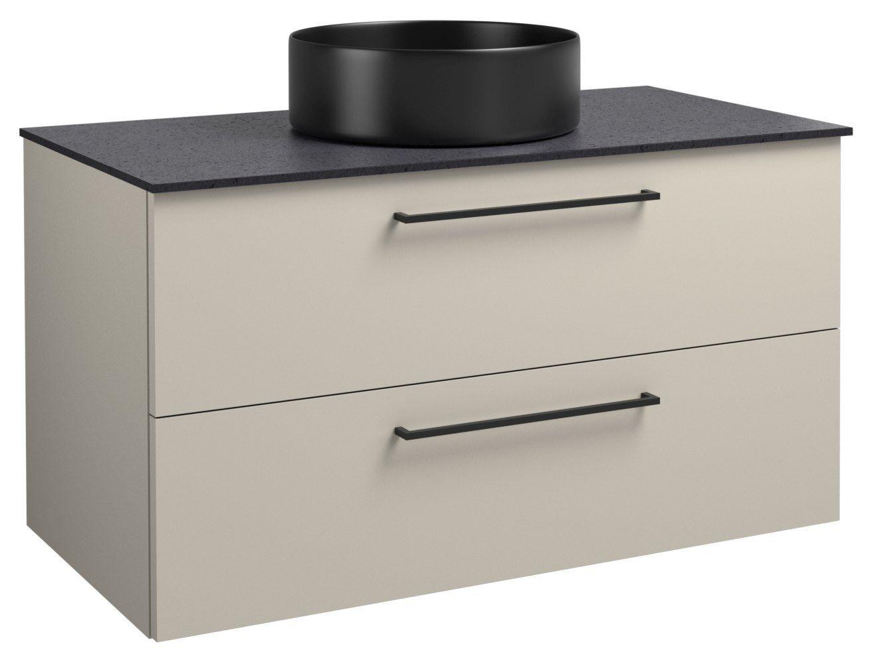 Waschtischunterschrank Noida 34, Farbe: Beige / Schwarz – 50 x 91 x 47 cm (H x B x T)