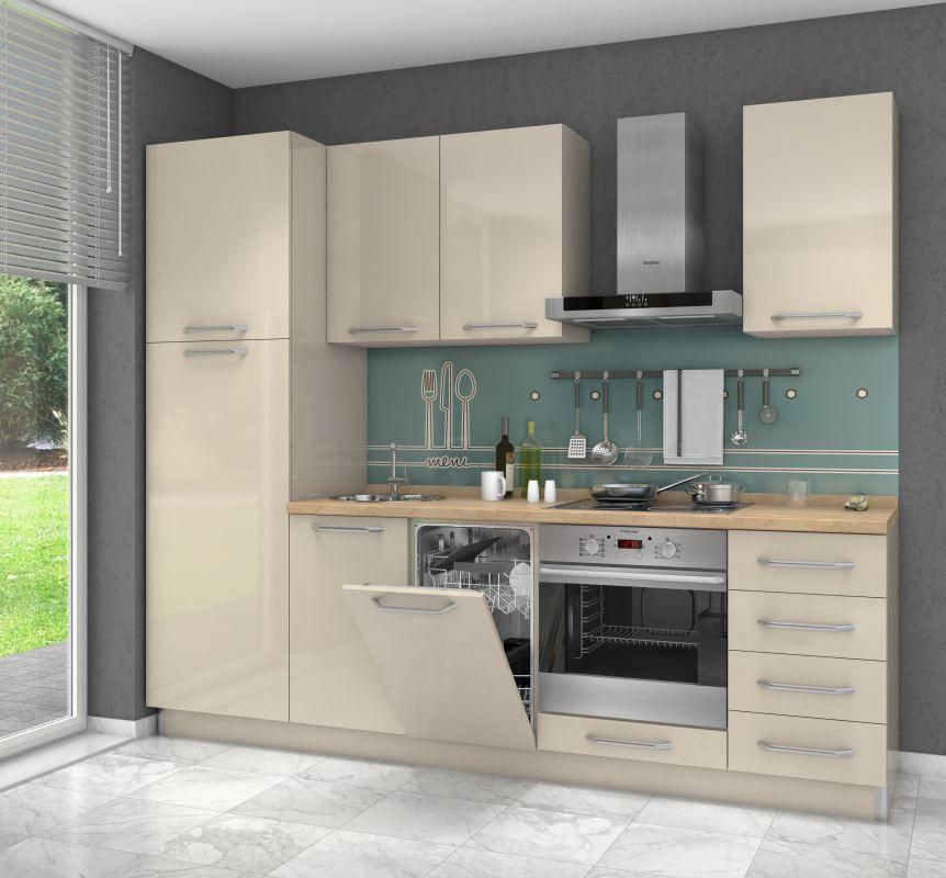 Küchenzeile / Küchenblock Fagali 12, 7-teilig, Farbe: Creme Hochglanz