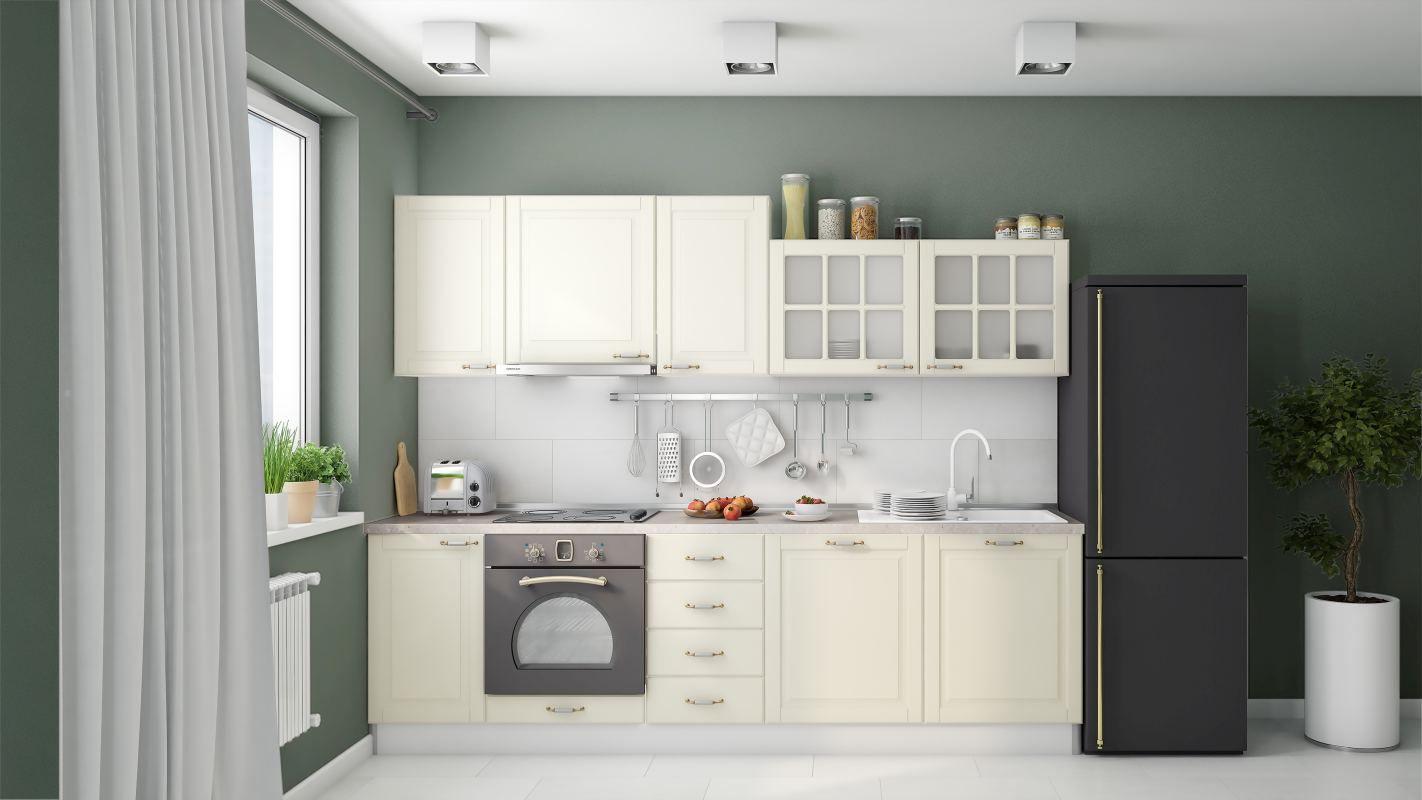 Küchenzeile / Küchenblock Fagali 13, 10-teilig, Farbe: Elfenbein