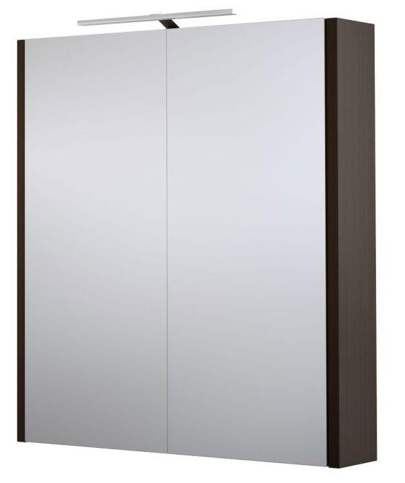 Bad - Spiegelschrank Bidar 05, Farbe: Eiche Schwarz – 65 x 60 x 12 cm (H x B x T)
