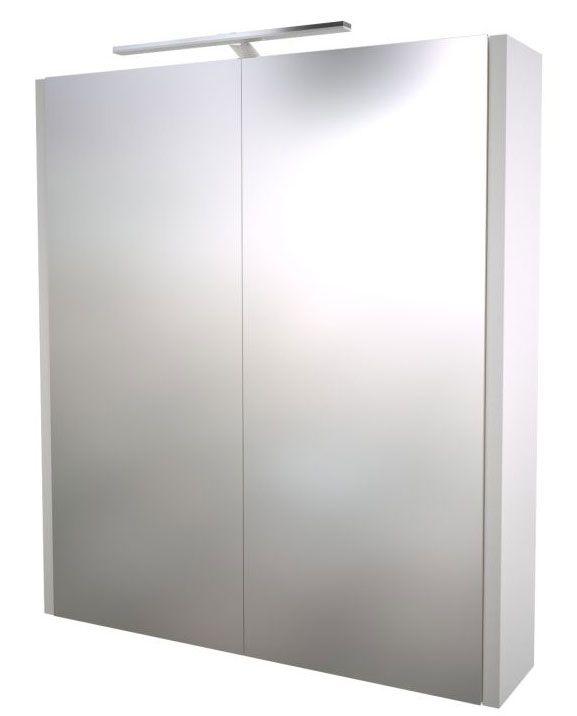 Bad - Spiegelschrank Bidar 04, Farbe: Weiß glänzend – 65 x 60 x 12 cm (H x B x T)