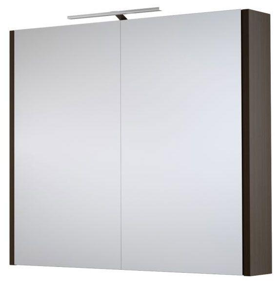 Bad - Spiegelschrank Bidar 14, Farbe: Eiche Schwarz – 65 x 75 x 12 cm (H x B x T)
