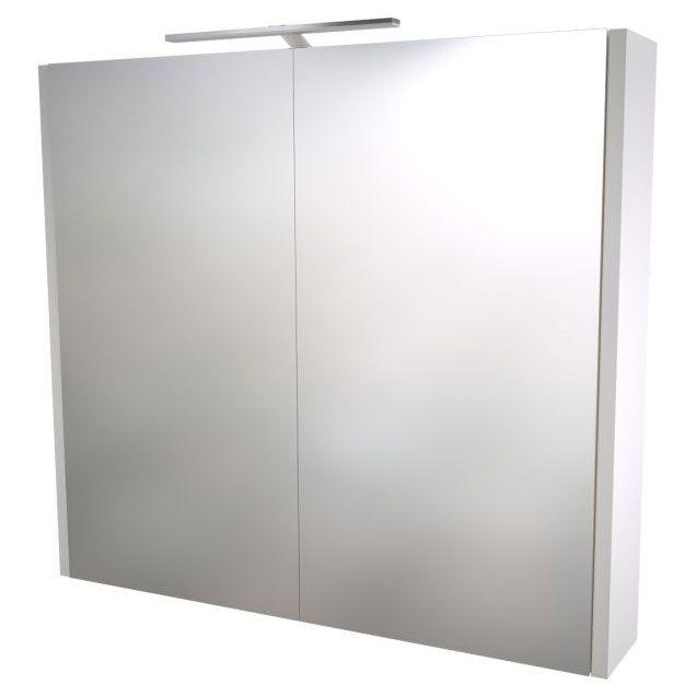 Bad - Spiegelschrank Bidar 13, Farbe: Weiß glänzend – 65 x 75 x 12 cm (H x B x T)