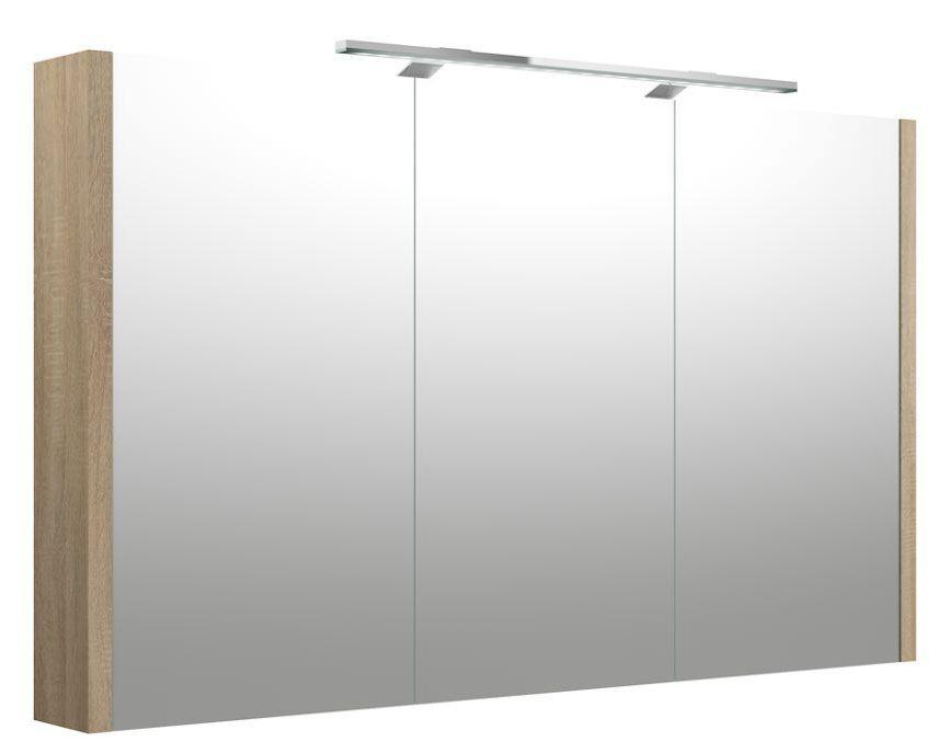Bad - Spiegelschrank Bidar 33, Farbe: Eiche – 65 x 110 x 12 cm (H x B x T)