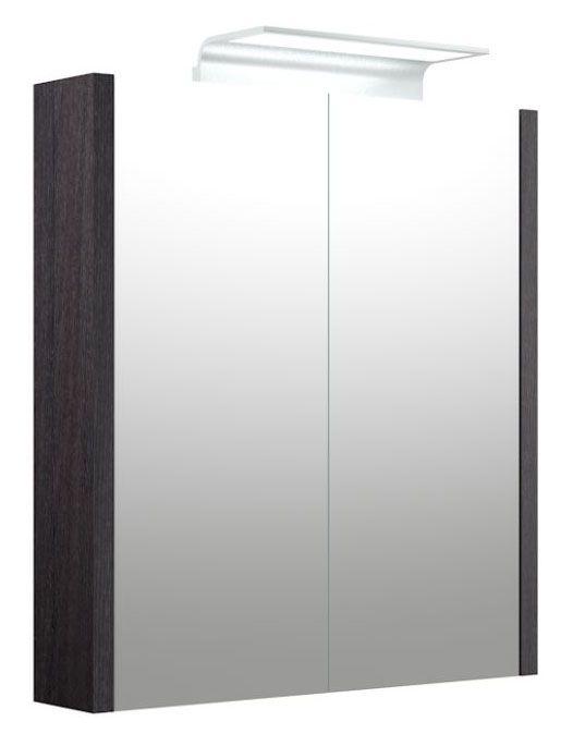 Bad - Spiegelschrank Bidar 08, Farbe: Eiche Schwarz – 65 x 60 x 12 cm (H x B x T)