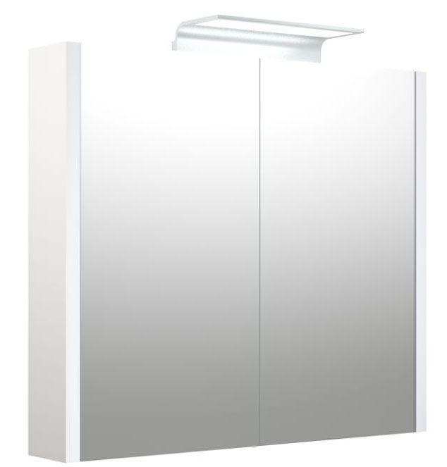 Bad - Spiegelschrank Bidar 16, Farbe: Weiß glänzend – 65 x 75 x 12 cm (H x B x T)