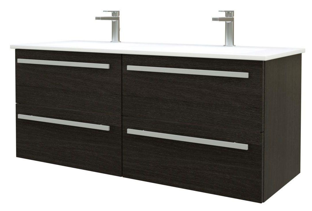 Waschtischunterschrank Bidar 47, Farbe: Eiche Schwarz – 50 x 121 x 45 cm (H x B x T)