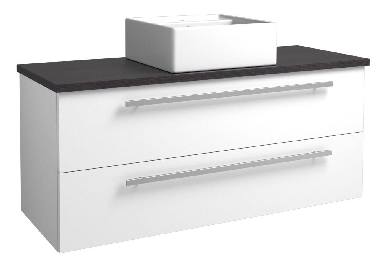 Waschtischunterschrank Bidar 97, Farbe: Weiß glänzend / Eiche Schwarz – 50 x 121 x 45 cm (H x B x T)
