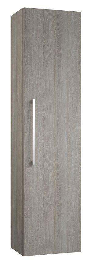 Badezimmer - Hochschrank Nadiad 50, Farbe: Esche Grau – 138 x 35 x 25 cm (H x B x T)