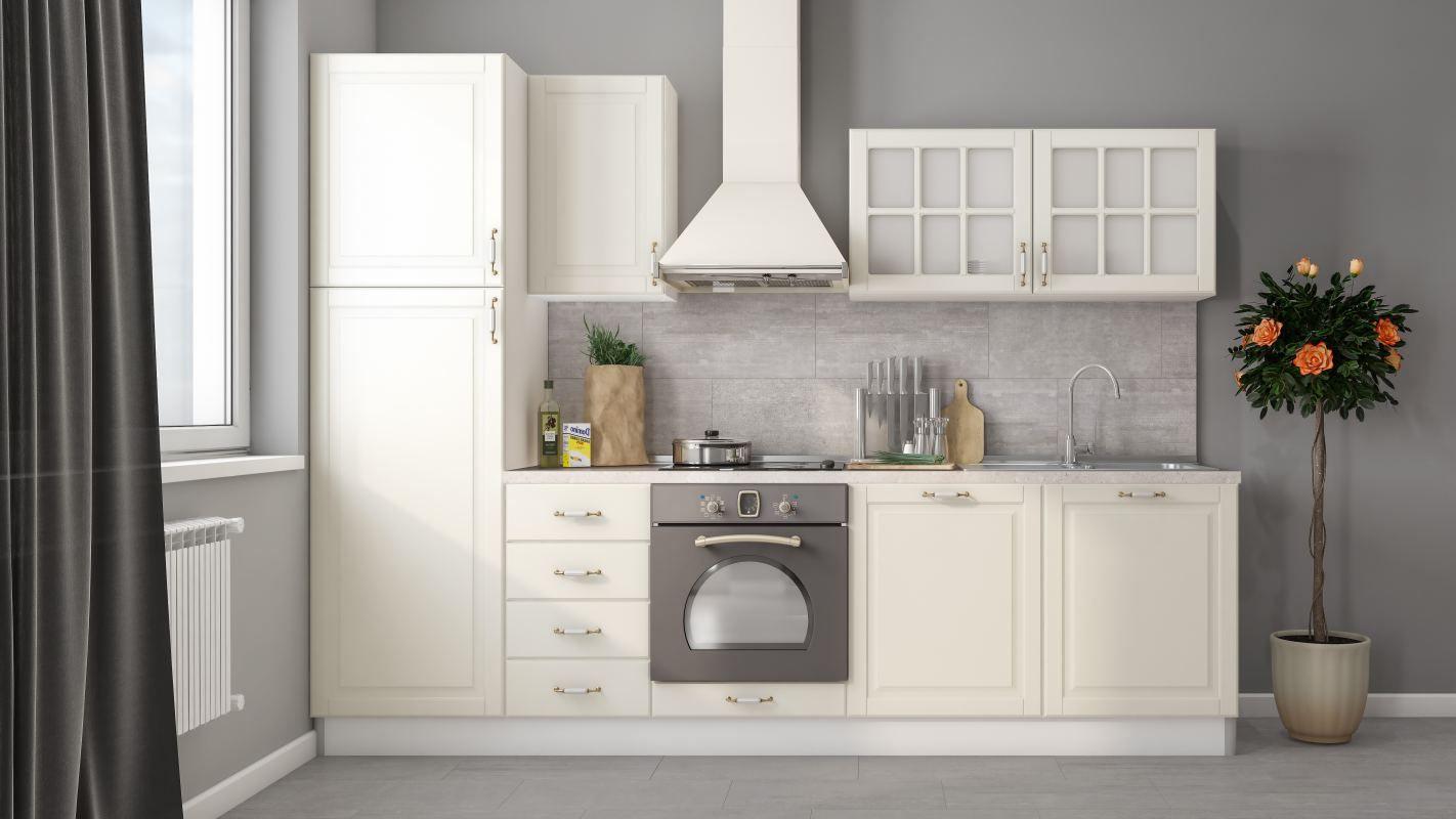 Küchenzeile / Küchenblock Fagali 15, 8-teilig, Farbe: Weiß