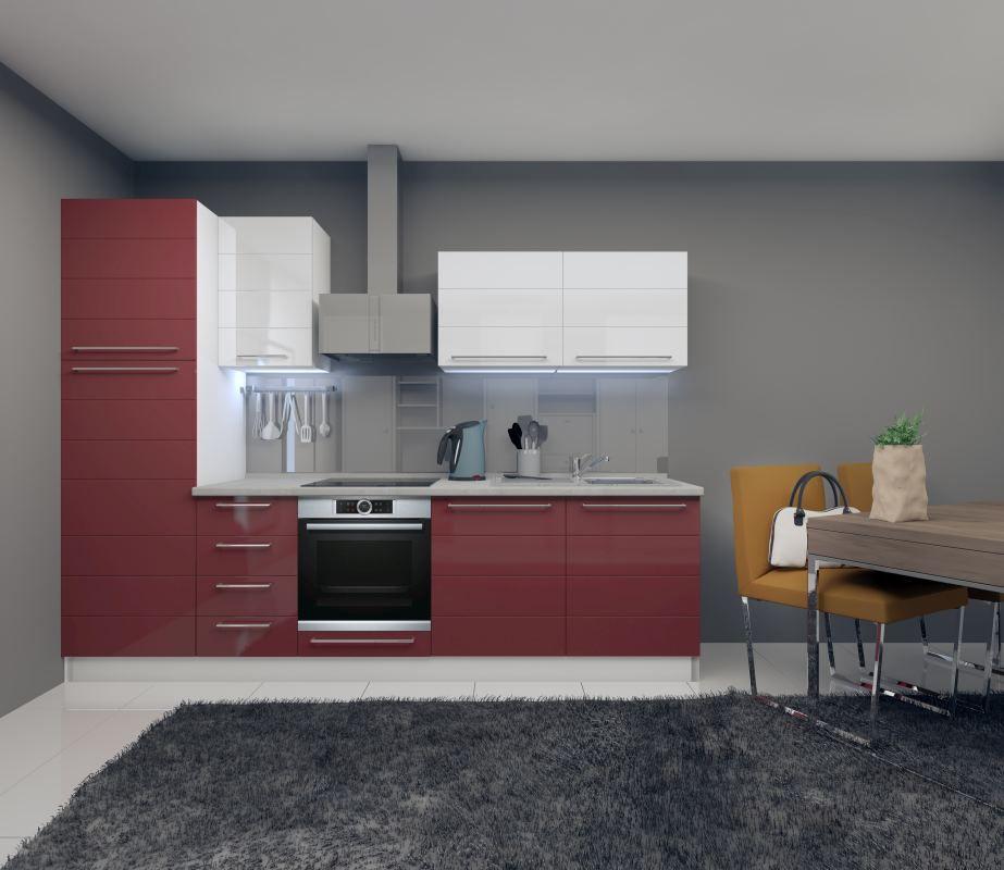 Küchenzeile / Küchenblock Fagali 16, 8-teilig, Farbe: Weiß Hochglanz / Bordeaux Hochglanz