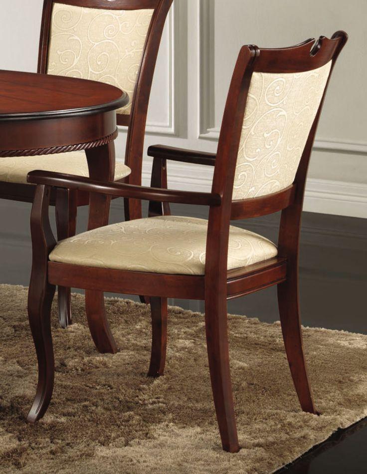 Stuhl Maridi 119, Farbe: Mahagoni / Beige, teilmassiv - Abmessungen: 96 x 62 x 61 cm (H x B x T)