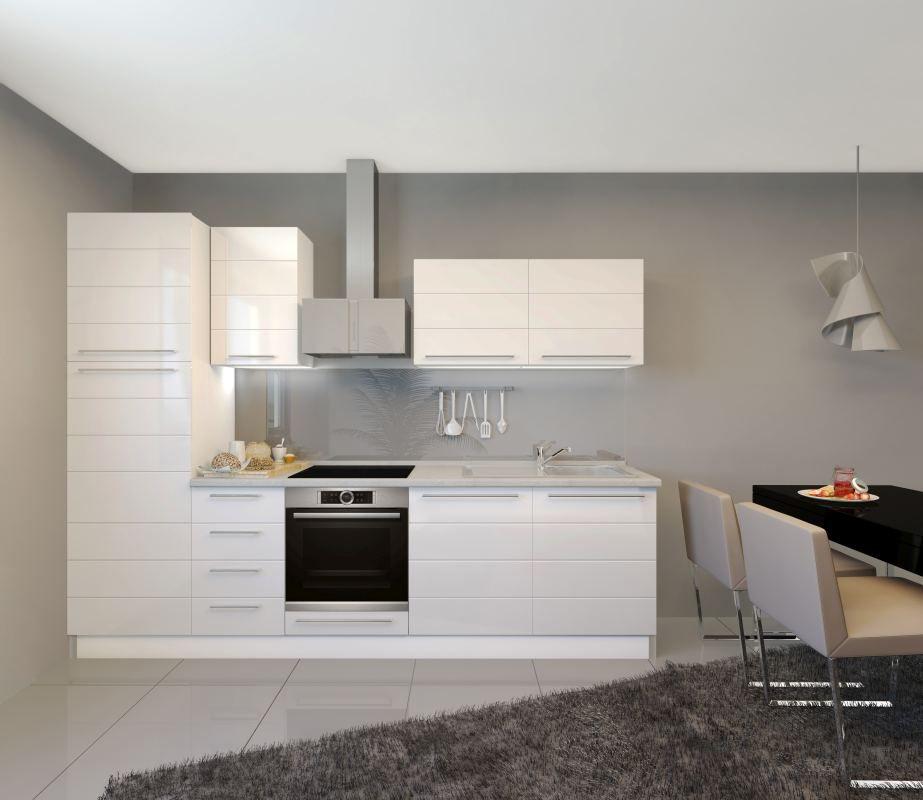 Küchenzeile / Küchenblock Fagali 17, 8-teilig, Farbe: Weiß / Weiß Hochglanz
