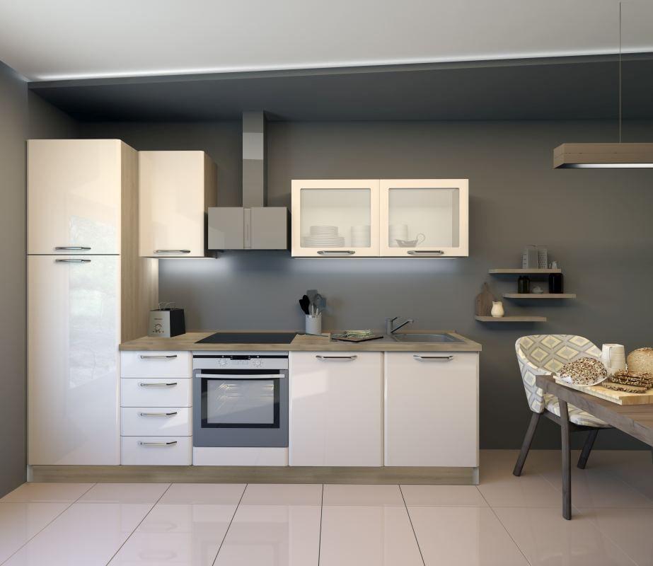 Küchenzeile / Küchenblock Fagali 18, 8-teilig, Farbe: Eiche Braun / Creme Hochglanz