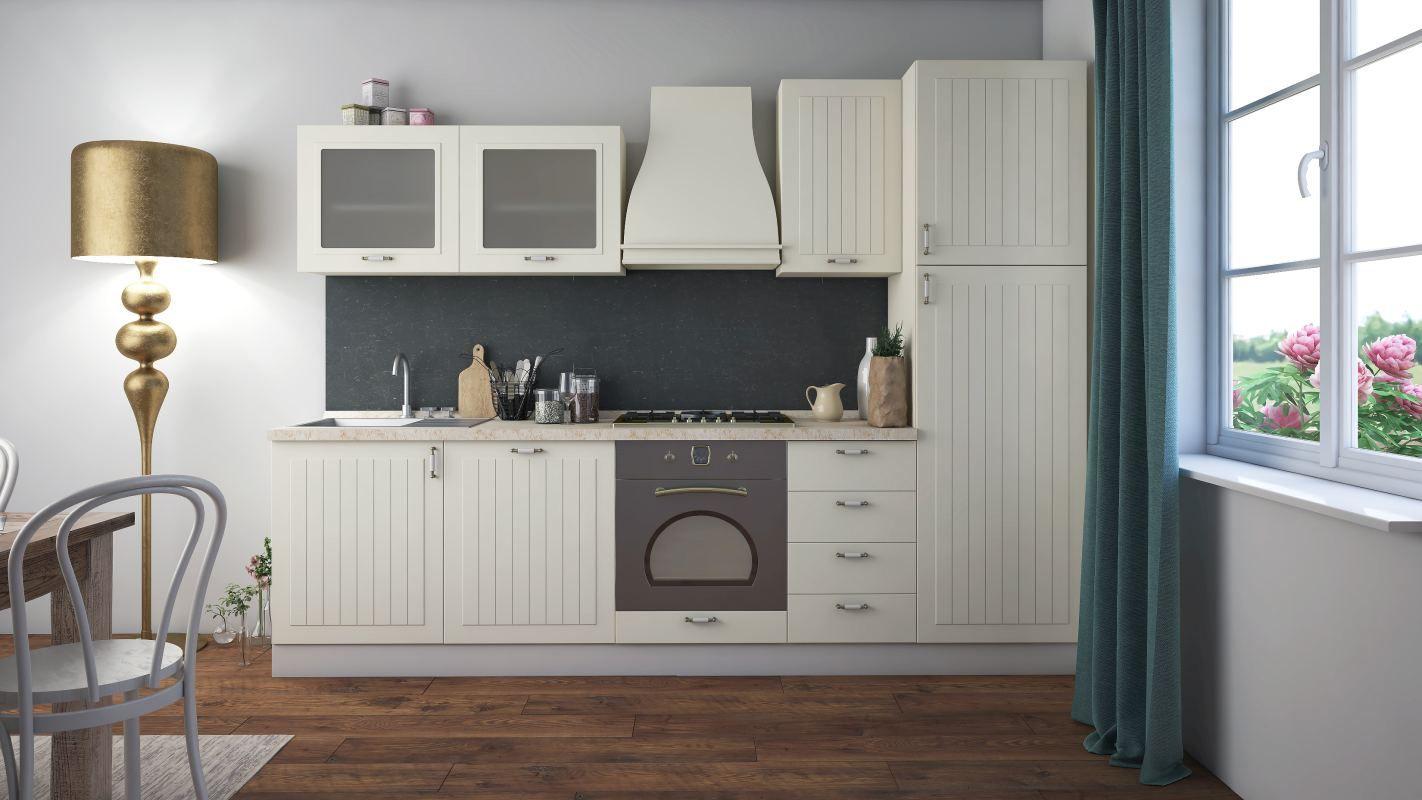 Küchenzeile / Küchenblock Fagali 19, 8-teilig, Farbe: Elfenbein