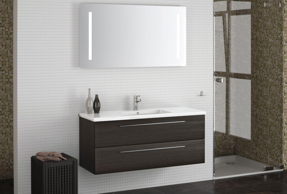 Badezimmermöbel - Set CY Rajkot, 2-teilig inkl. Waschtisch / Waschbecken, Farbe: Eiche Schwarz
