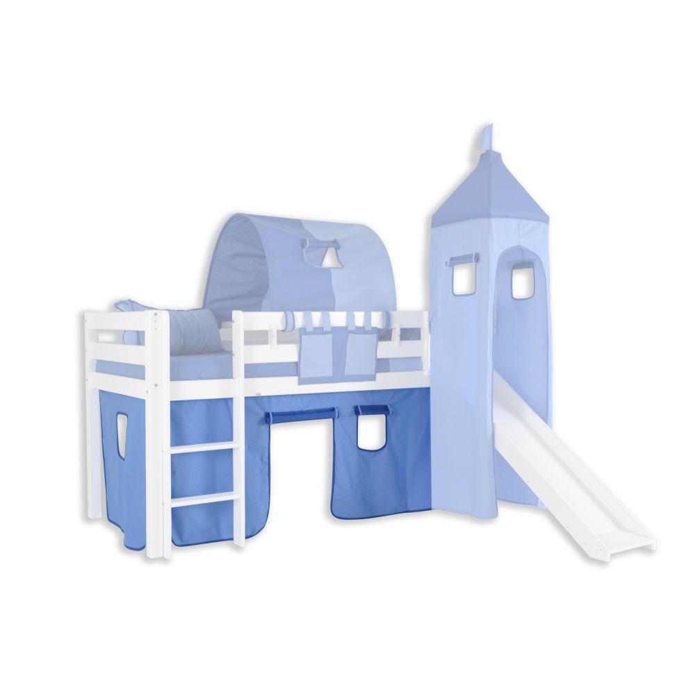Vorhänge Stoff-Set - Farbe:Hellblau/Dunkelblau