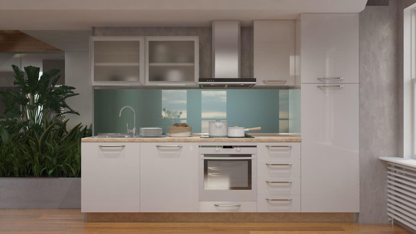 Küchenzeile / Küchenblock Fagali 21, 8-teilig, Farbe: Creme