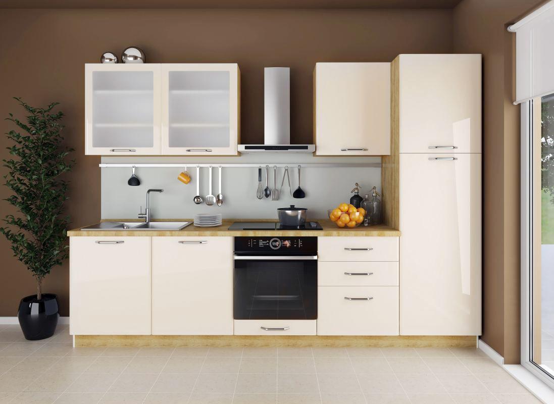 Küchenzeile / Küchenblock Fagali 22, 8-teilig, Farbe: Eiche Braun / Creme Hochglanz