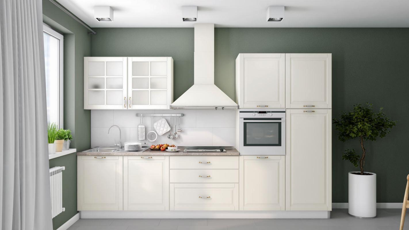 Küchenzeile / Küchenblock Fagali 25, 7-teilig, Farbe: Elfenbein