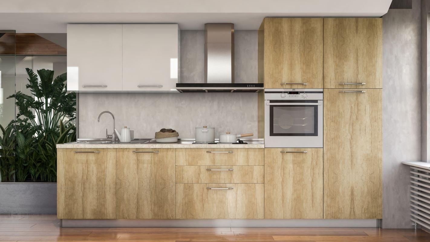 Küchenzeile / Küchenblock Fagali 28, 7-teilig, Farbe: Braun Hochglanz / Creme Hochglanz