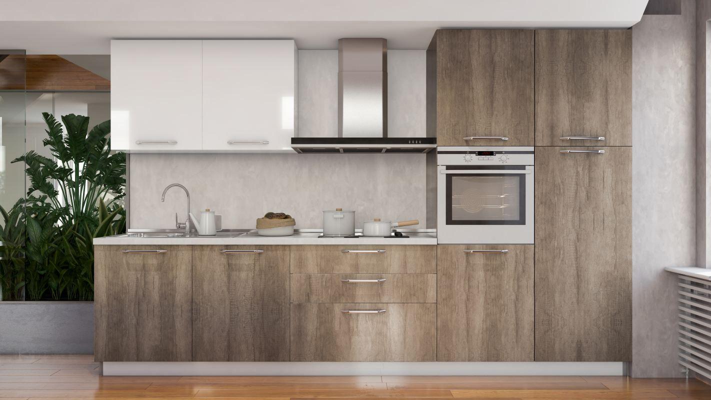 Küchenzeile / Küchenblock Fagali 29, 7-teilig, Farbe: Dunkelbraun Hochglanz / Weiß Hochglanz