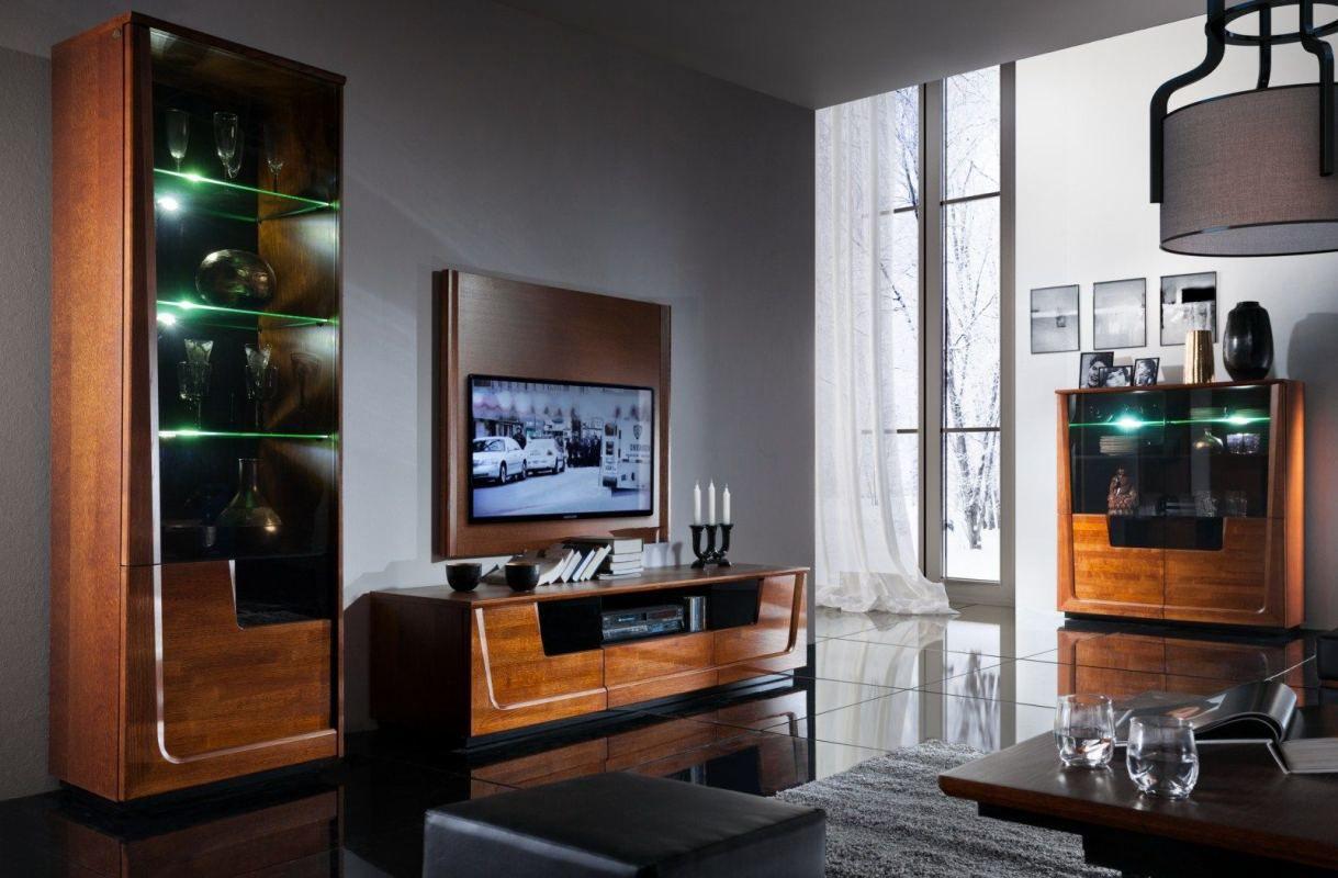 Wohnzimmer Komplett - Set I Lopar, 6-teilig, teilmassiv, Farbe: Nuss / Schwarz