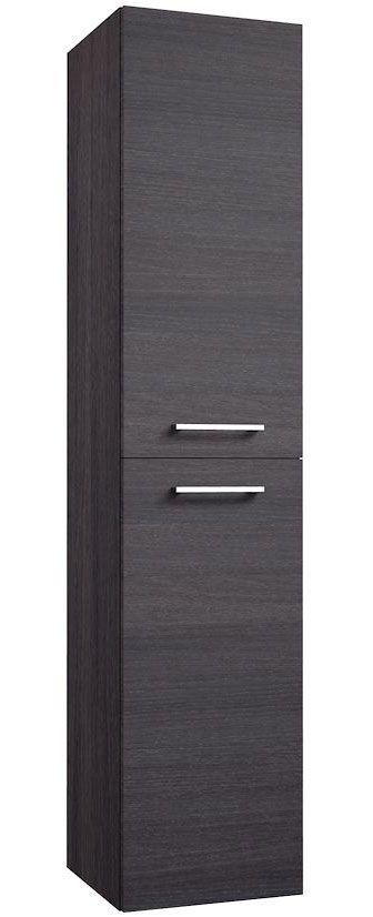 Badezimmer - Hochschrank Rajkot 85, Farbe: Eiche Schwarz – 160 x 35 x 35 cm (H x B x T)