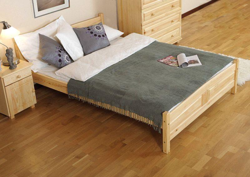 Doppelbett / Gästebett Kiefer Vollholz massiv natur A13, inkl. Lattenrost - Abmessung 180 x 200 cm