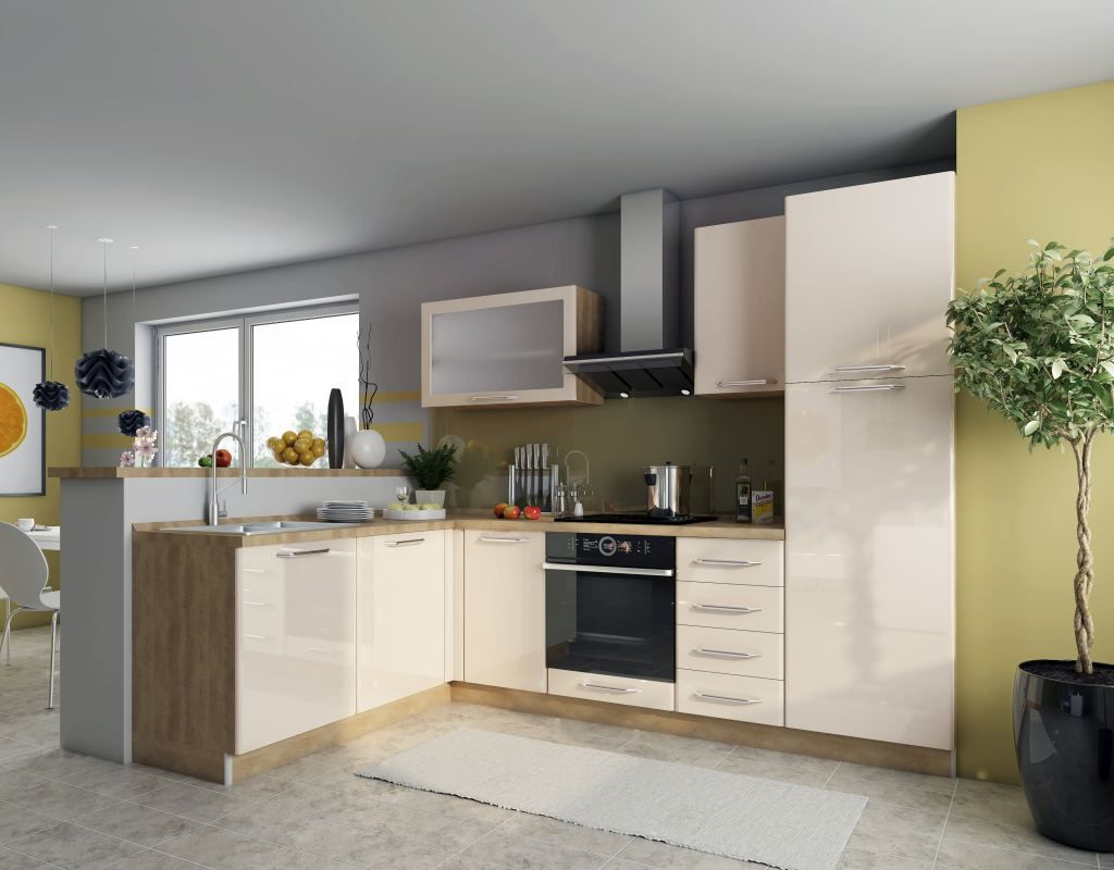 Eckküchenblock Fagali 32, 8-teilig, Farbe: Eiche Braun / Creme Hochglanz