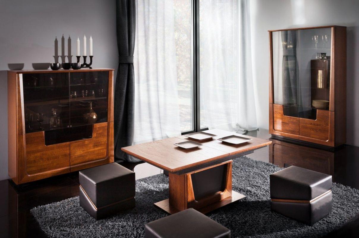 Wohnzimmer Komplett - Set J Lopar, 3-teilig, teilmassiv, Farbe: Nuss / Schwarz