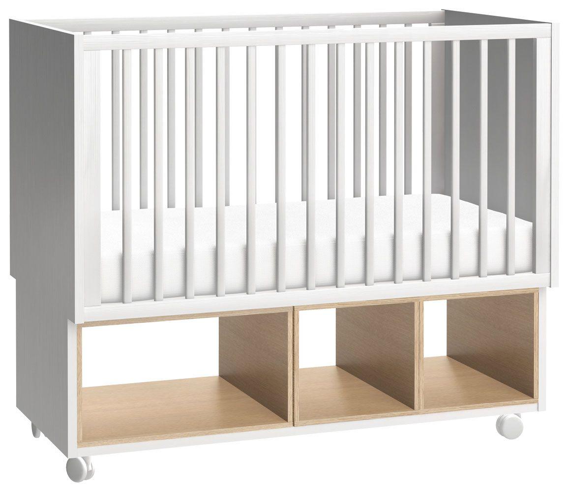 Babybett / Gitterbett Minnea 01, Farbe: Weiß / Eiche - Liegefläche: 60 x 120 cm (B x L)