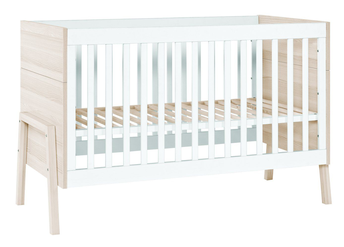 Babybett / Gitterbett Hildrid 02, Farbe: Akazie / Weiß - Liegefläche: 70 x 140 cm (B x L)