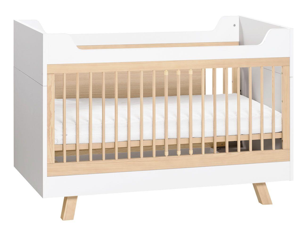 Babybett / Gitterbett Minnea 02, Farbe: Weiß / Eiche - Liegefläche: 70 x 140 cm (B x L)