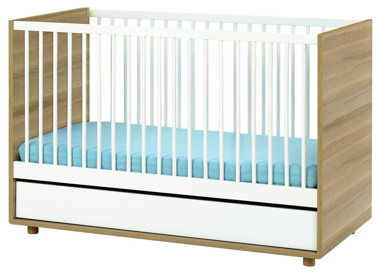 Babybett / Gitterbett Nalle 01, Farbe: Eiche / Weiß - Liegefläche: 70 x 140 cm (B x L)