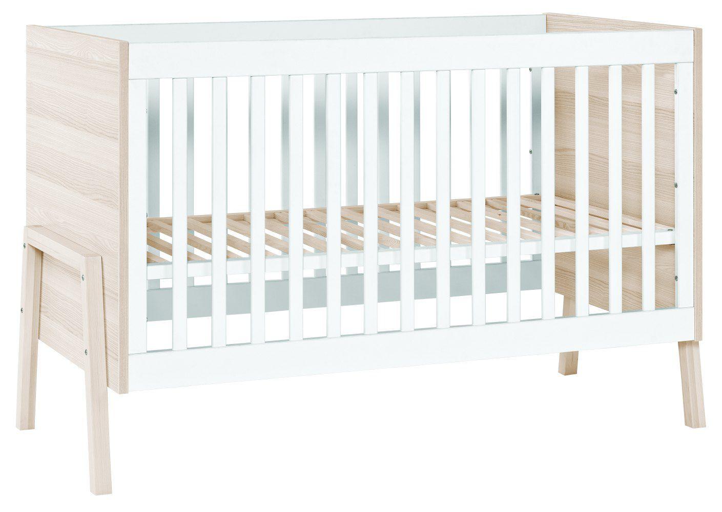 Babybett / Gitterbett Hildrid 01, Farbe: Akazie / Weiß - Liegefläche: 60 x 120 cm (B x L)