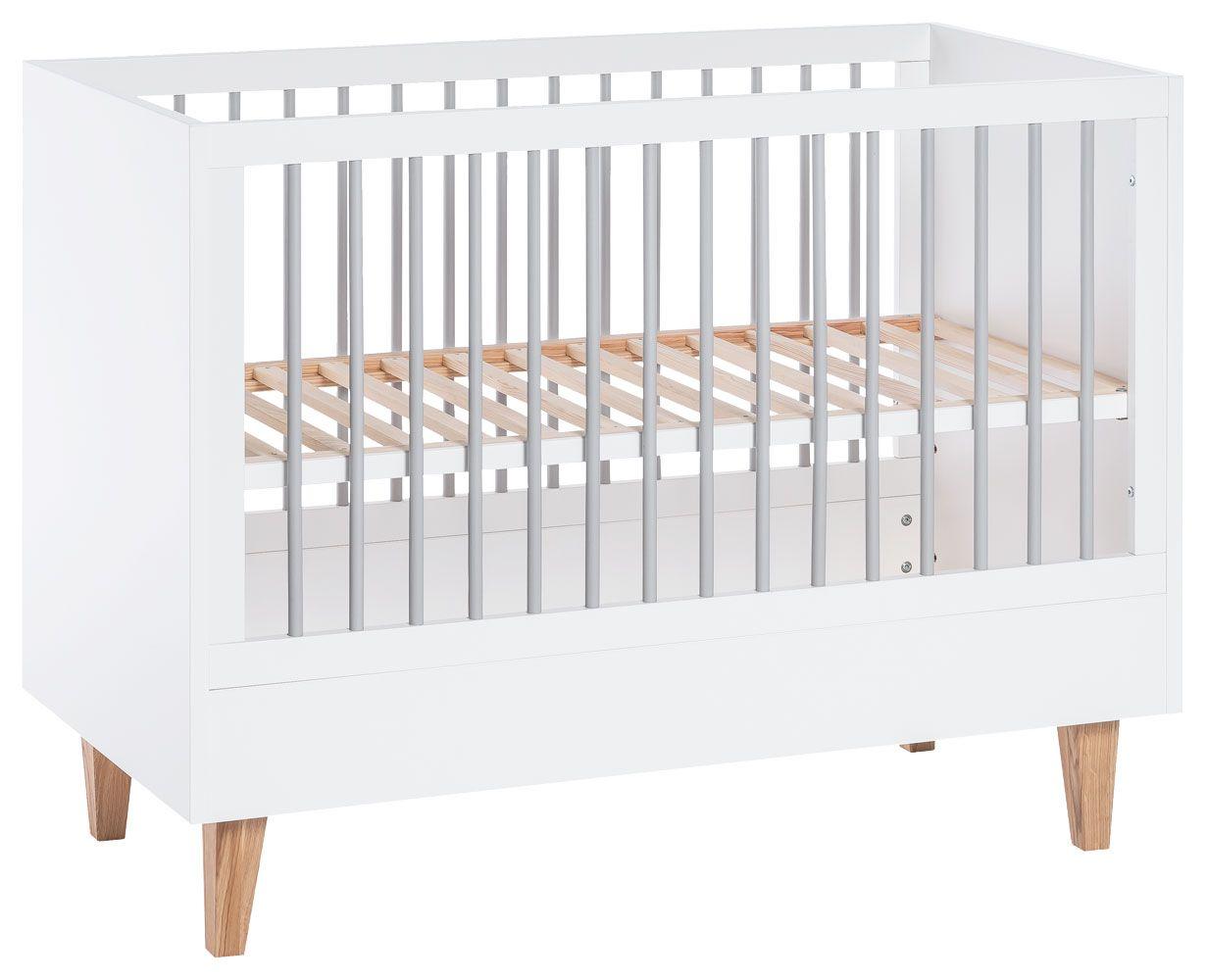 Babybett / Gitterbett Syrina 01, Farbe: Weiß / Grau - Liegefläche: 60 x 120 cm (B x L)